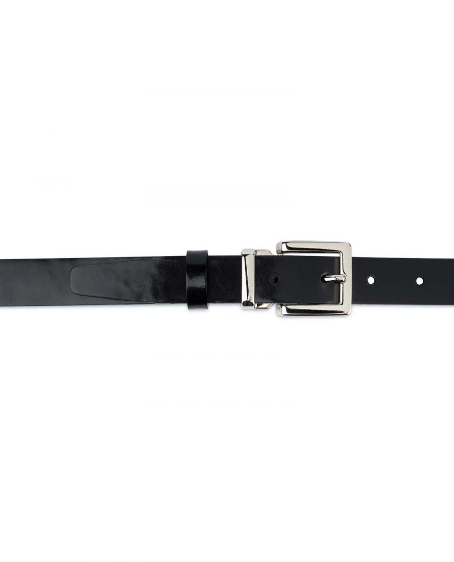 Black Patent Leather Belt Womens 1 inch On dress