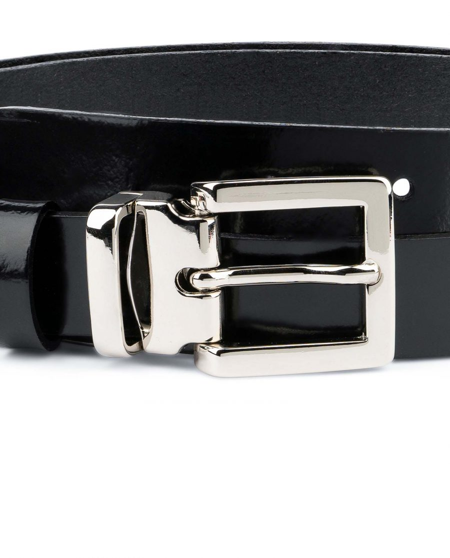Black-Patent-Leather-Belt-Womens-1-inch-Silver-nickel