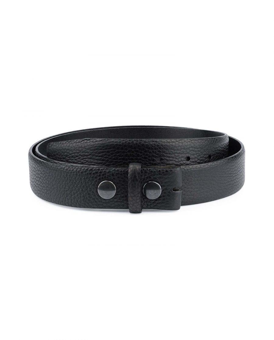 Black-Pebbled-Leather-Belt-Mens-No-buckle-Snap-on-Capo-Pelle