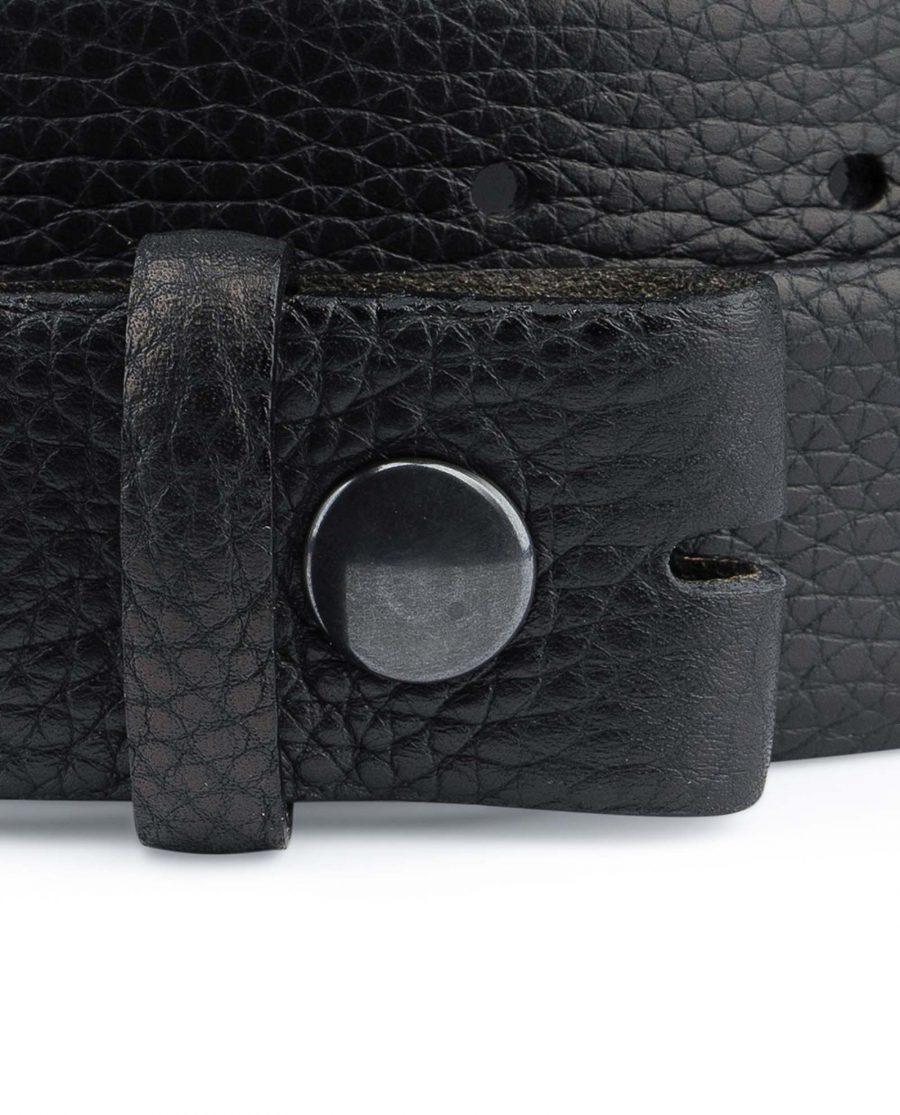 Black-Pebbled-Leather-Belt-Mens-No-buckle-Snap-on-Gunmetal