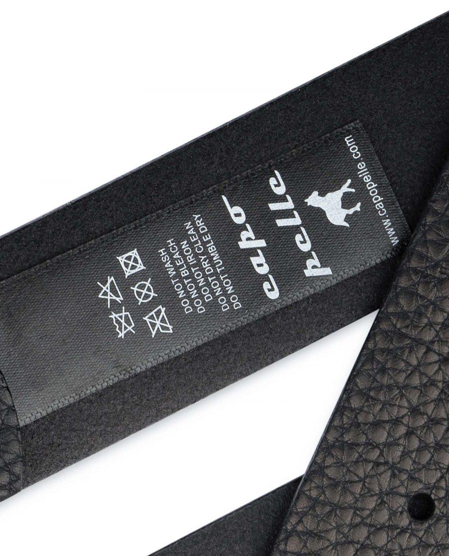 Black-Pebbled-Leather-Belt-Mens-No-buckle-Snap-on-Tag