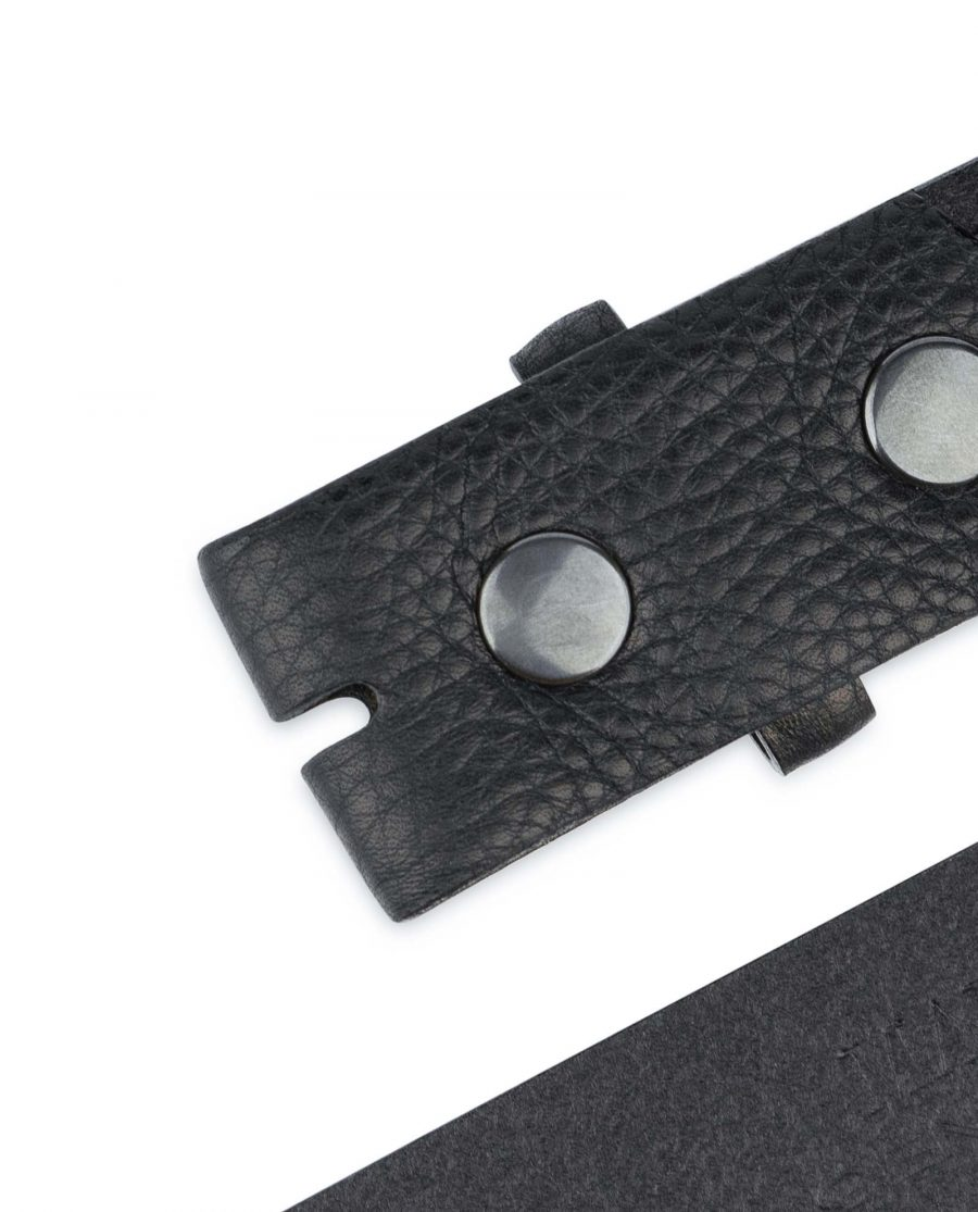 Black-Pebbled-Leather-Belt-Mens-No-buckle-Snap-on-YKK-buttons