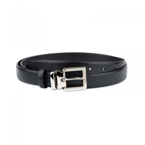 Black-Womens-Belts-For-Dresses-Saffiano-Leather-Capo-Pelle