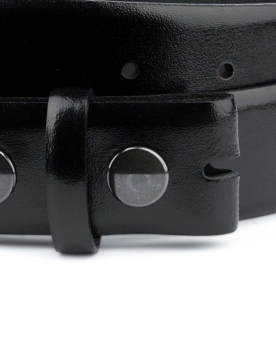 Black-leather-belt-With-no-buckle-Snap-on-Button