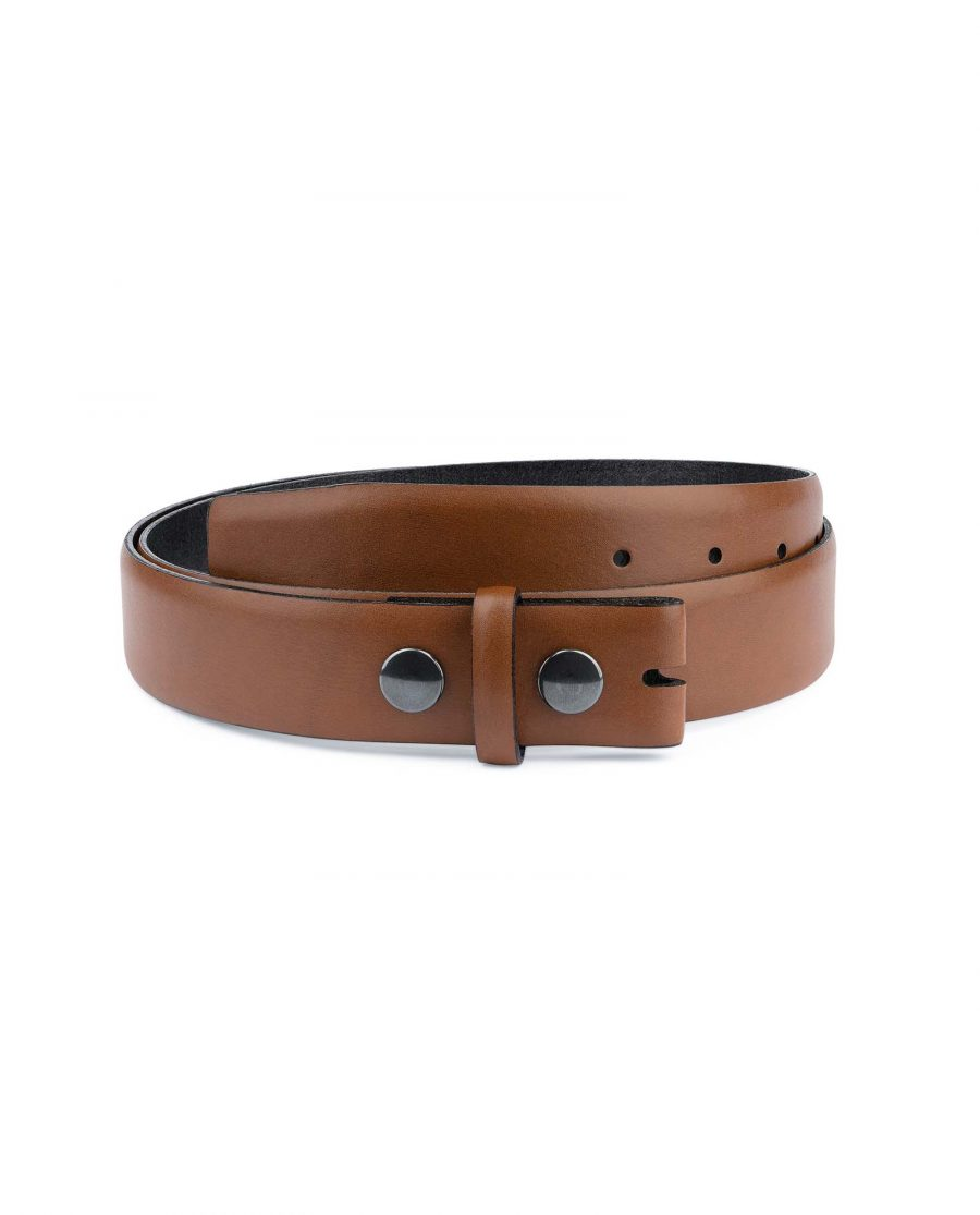 Brown-Leather-Belt-With-no-Buckle-Snap-on-Capo-Pelle