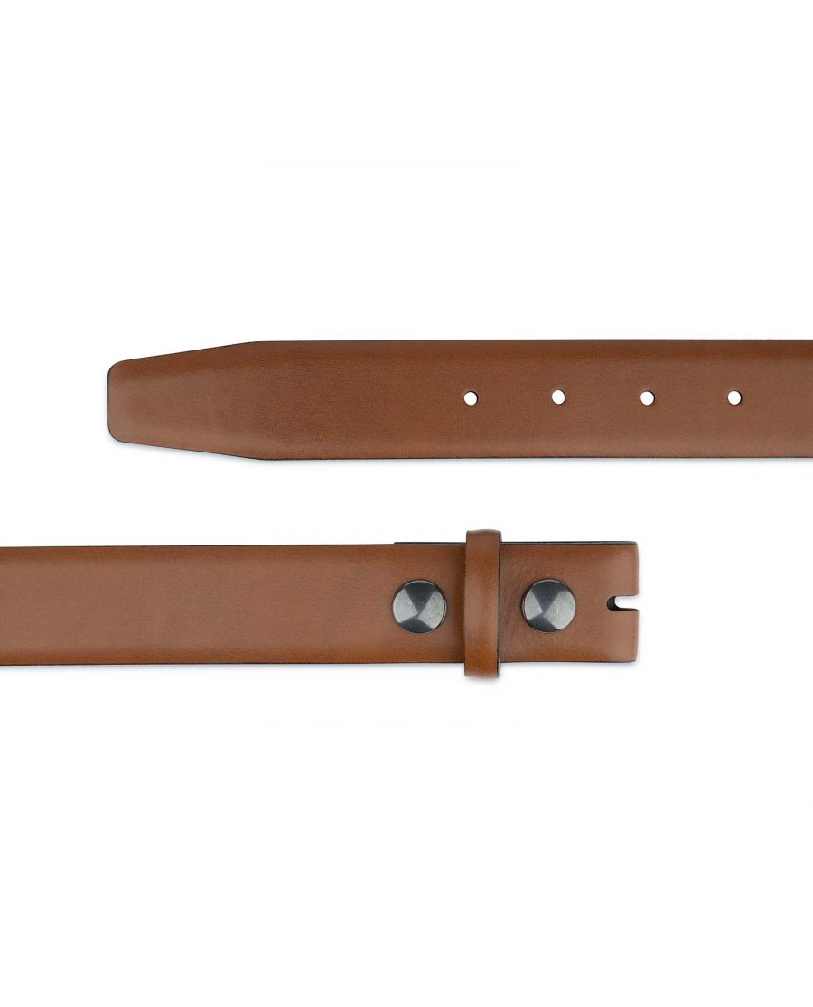 Brown-Leather-Belt-With-no-Buckle-Snap-on-Ends