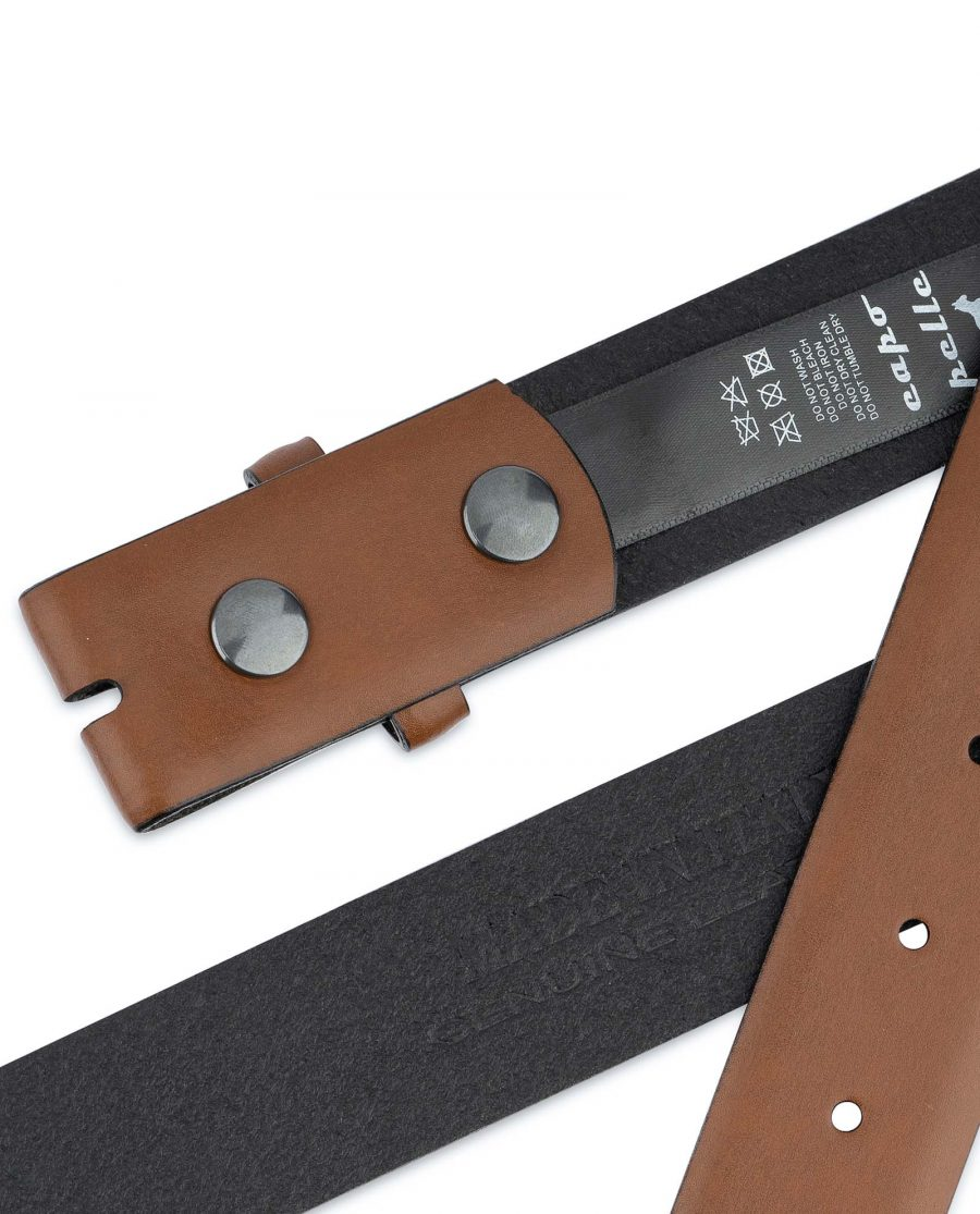 Brown-Leather-Belt-With-no-Buckle-Snap-on-Hot-stamp