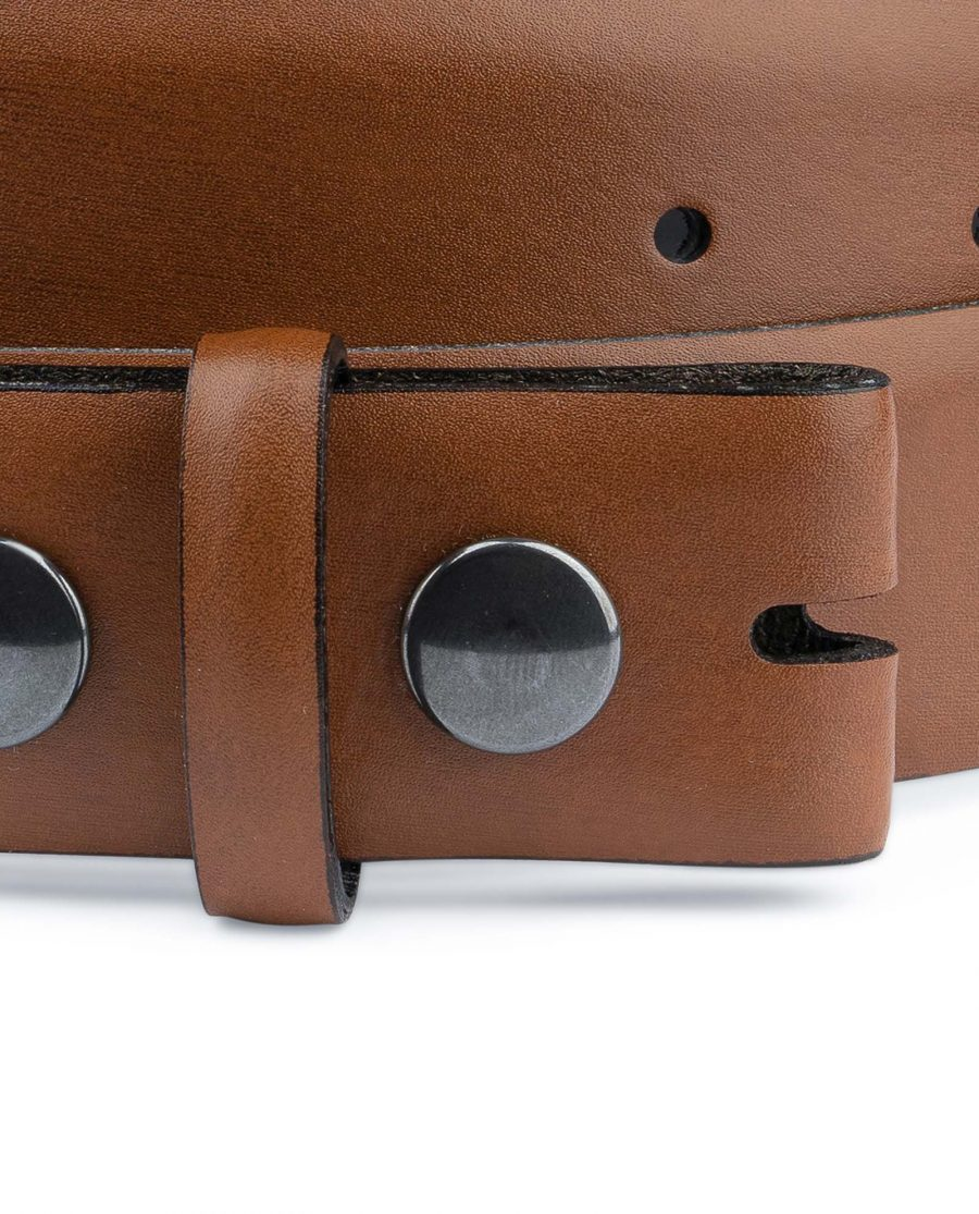 Brown-Leather-Belt-With-no-Buckle-Snap-on-YKK