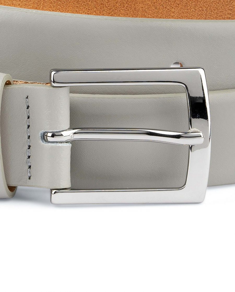 Grey-Leather-Belt-Mens-1-1-8-inch-Wide-Silver-nickel-buckle