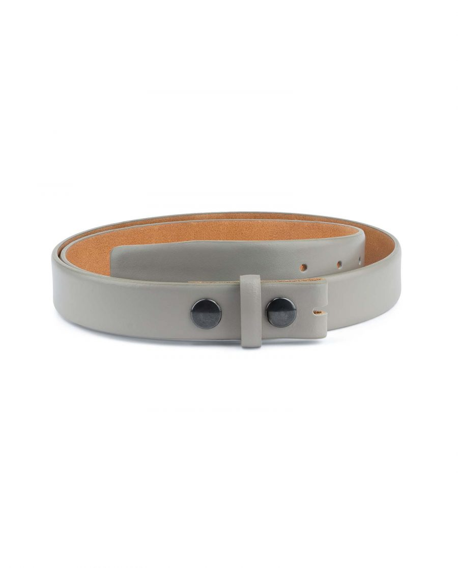 Grey-Leather-Belt-No-Buckle-Snap-on-30-mm-Capo-Pelle
