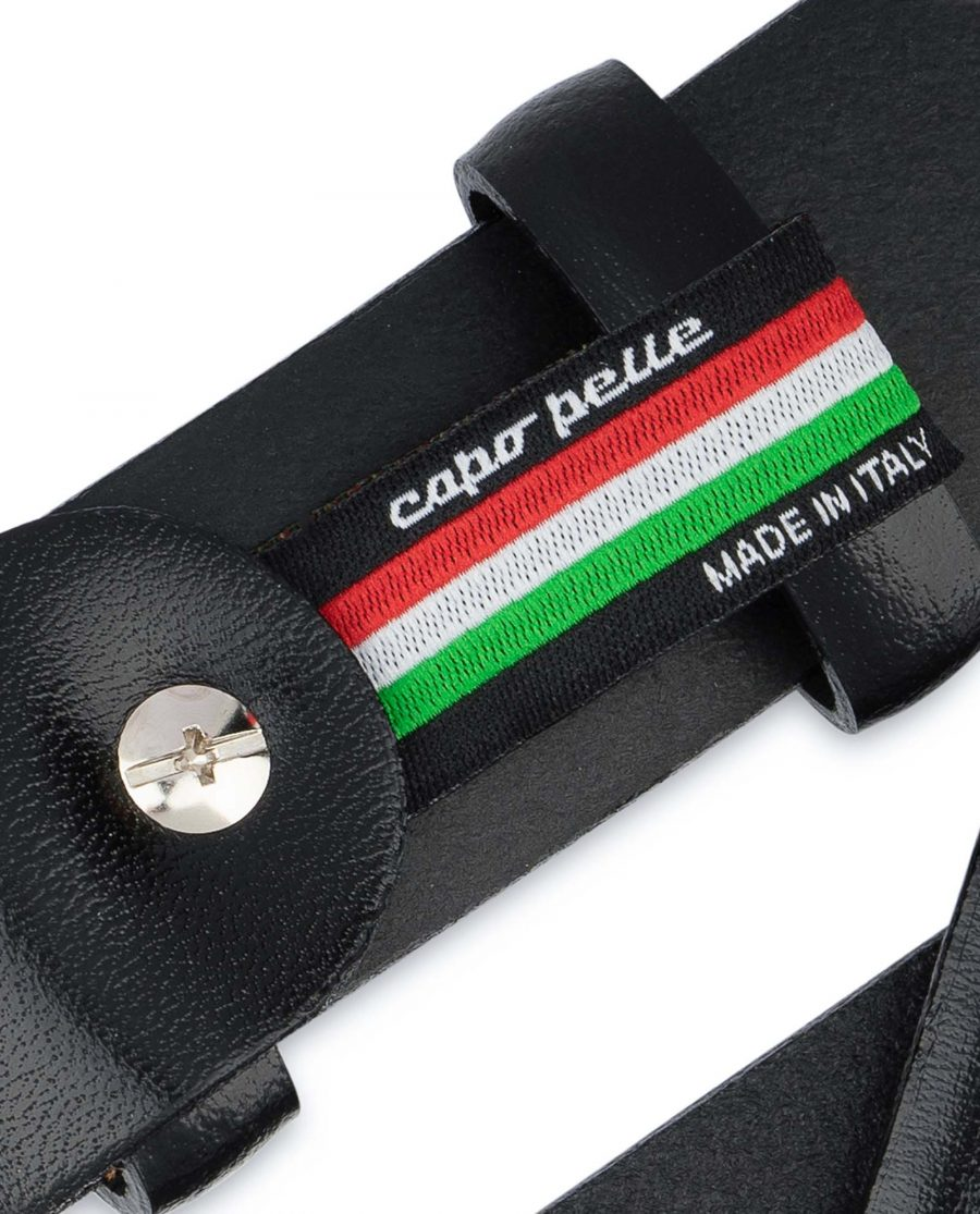 Mens-Black-Leather-Belt-With-Silver-Buckle-Woven-tag