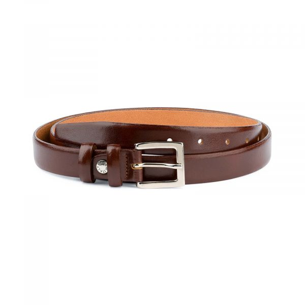 Mens-Brown-Leather-Dress-Belt-Thin-1-inch-Capo-Pelle