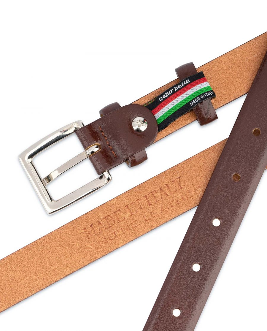 Mens-Brown-Leather-Dress-Belt-Thin-1-inch-Genuine