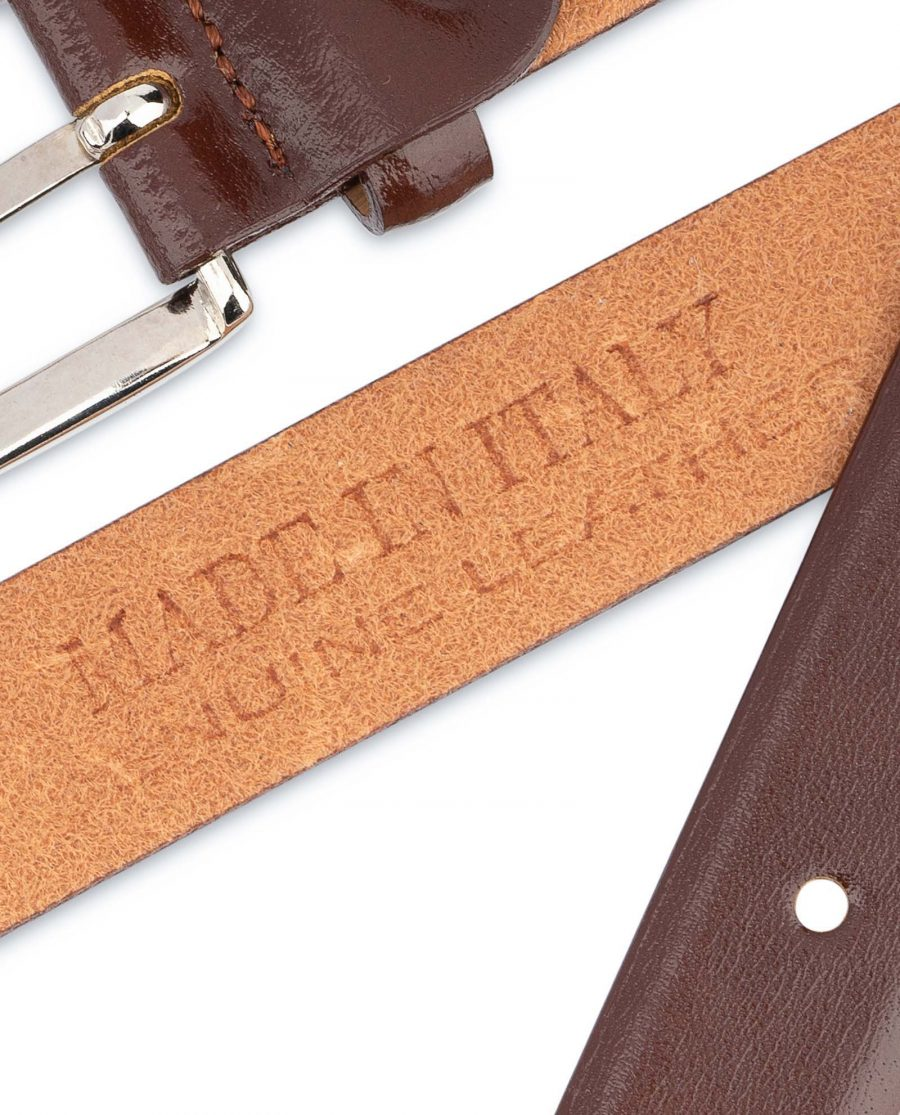Mens-Brown-Leather-Dress-Belt-Thin-1-inch-Heat-stamp