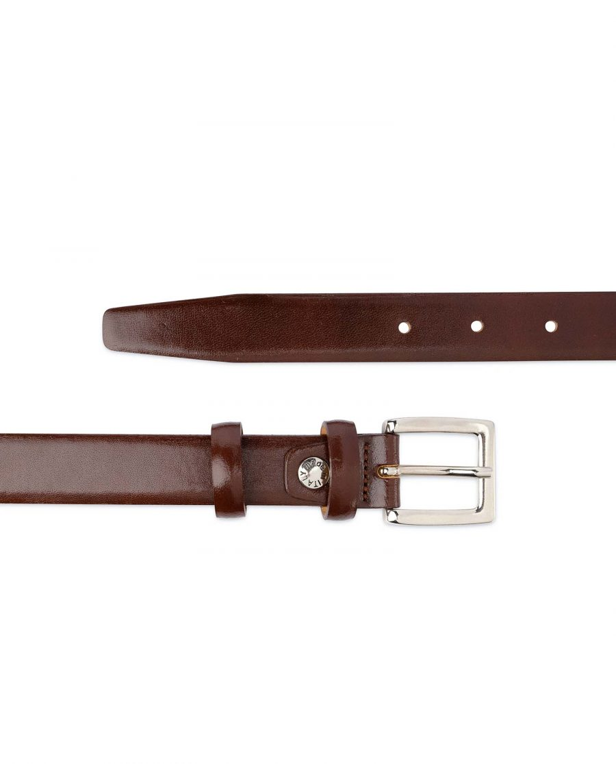 Mens-Brown-Leather-Dress-Belt-Thin-1-inch-Italian-calfskin