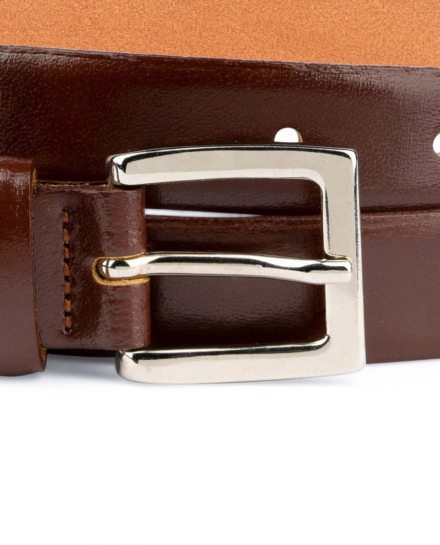 Mens-Brown-Leather-Dress-Belt-Thin-1-inch-Nickel-buckle