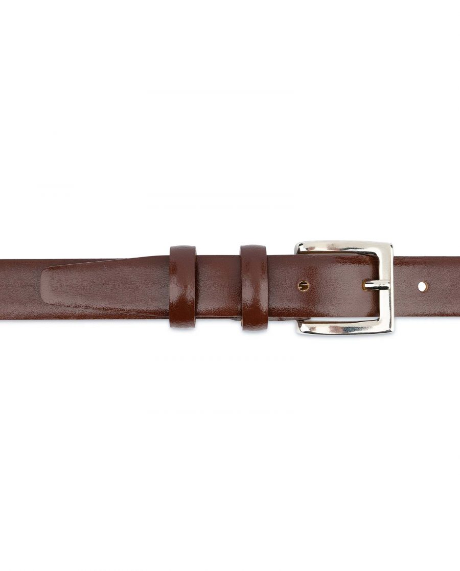 Mens-Brown-Leather-Dress-Belt-Thin-1-inch-On-pants