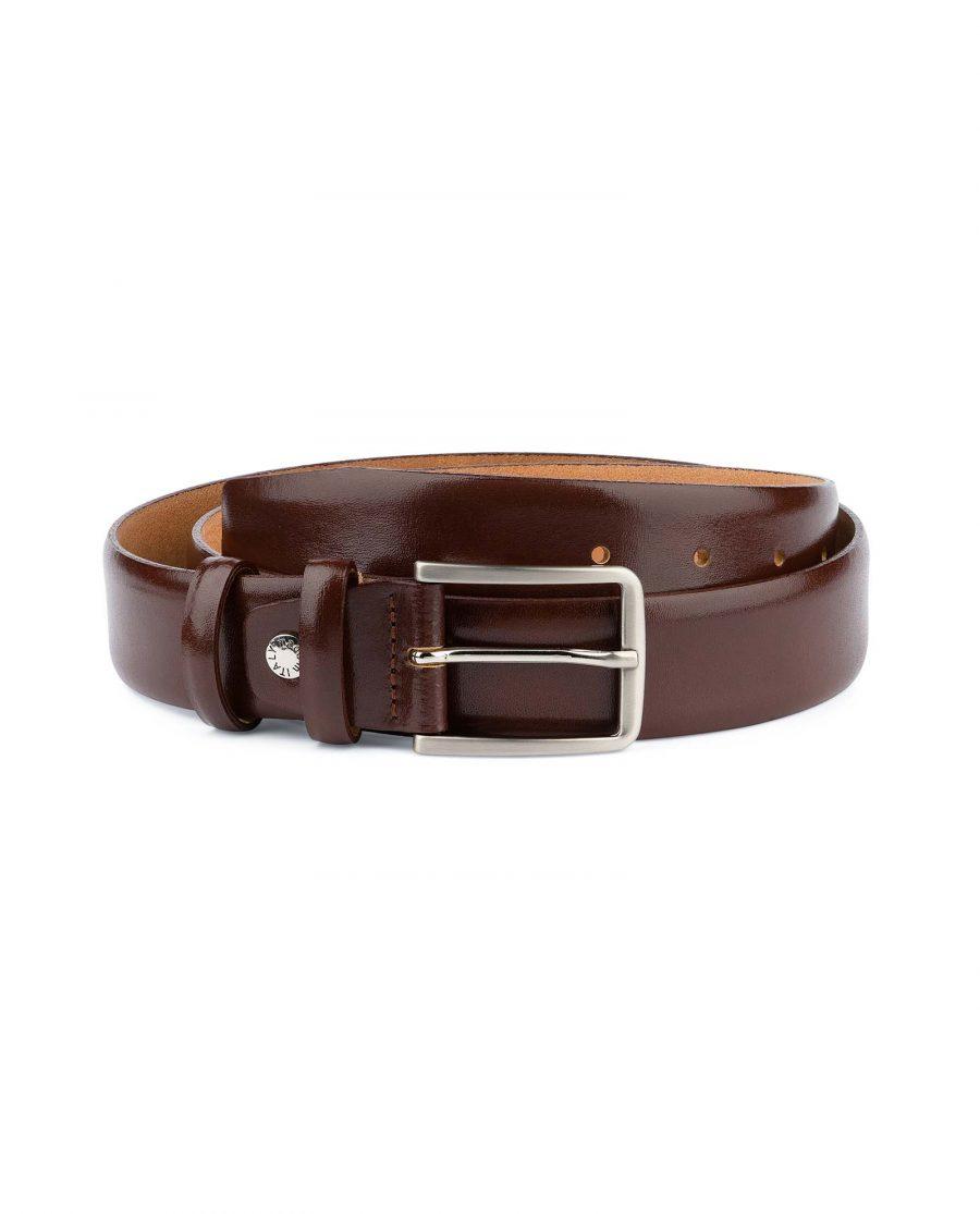 Mens-Cognac-Belt-Genuine-Leather-Capo-Pelle