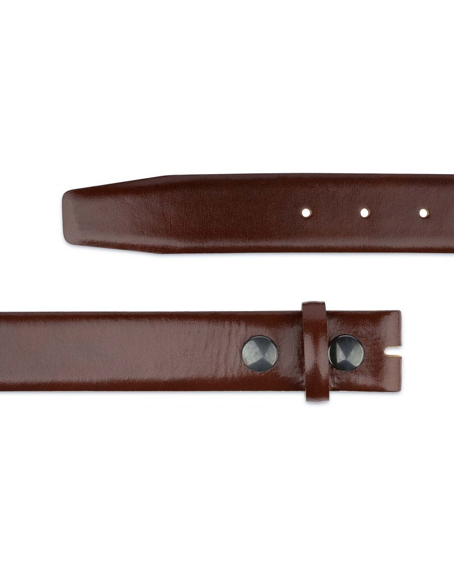 Mens-Cognac-Leather-Belt-No-buckle-Snap-on-Both-ends