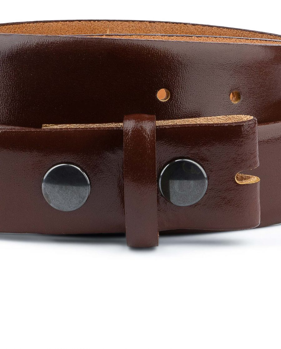 Mens-Cognac-Leather-Belt-No-buckle-Snap-on-Buttons