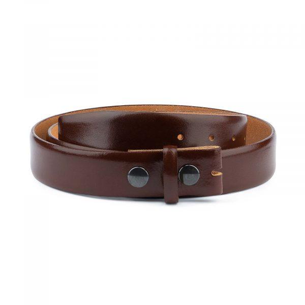 Mens-Cognac-Leather-Belt-No-buckle-Snap-on-Capo-Pelle