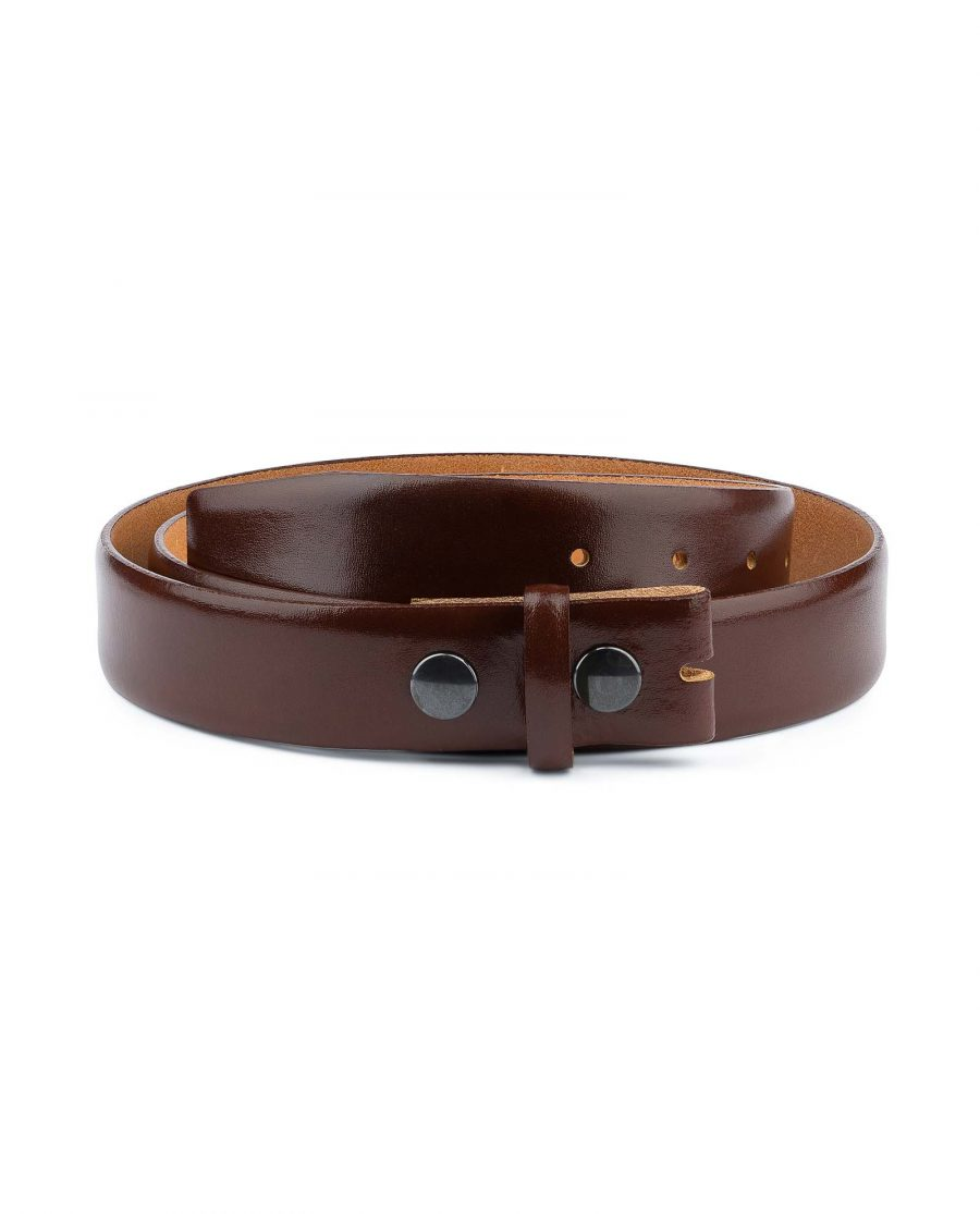 Mens-Cognac-Leather-Belt-No-buckle-Snap-on-Capo-Pelle