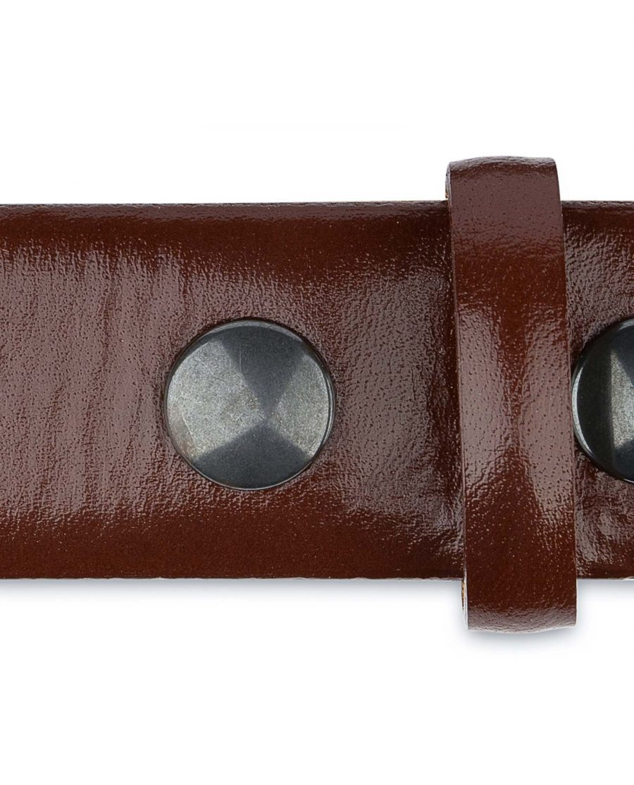 Mens-Cognac-Leather-Belt-No-buckle-Snap-on-Gunmetal