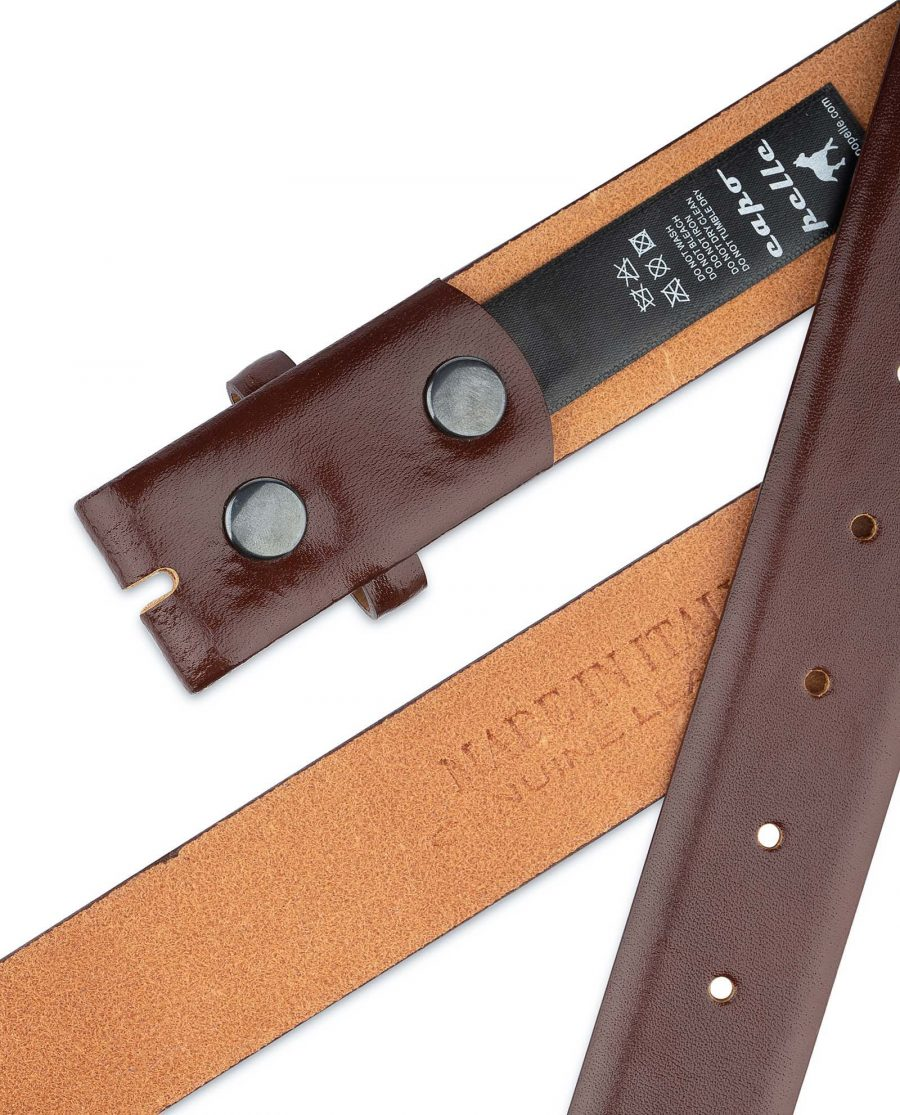 Mens-Cognac-Leather-Belt-No-buckle-Snap-on-Italy