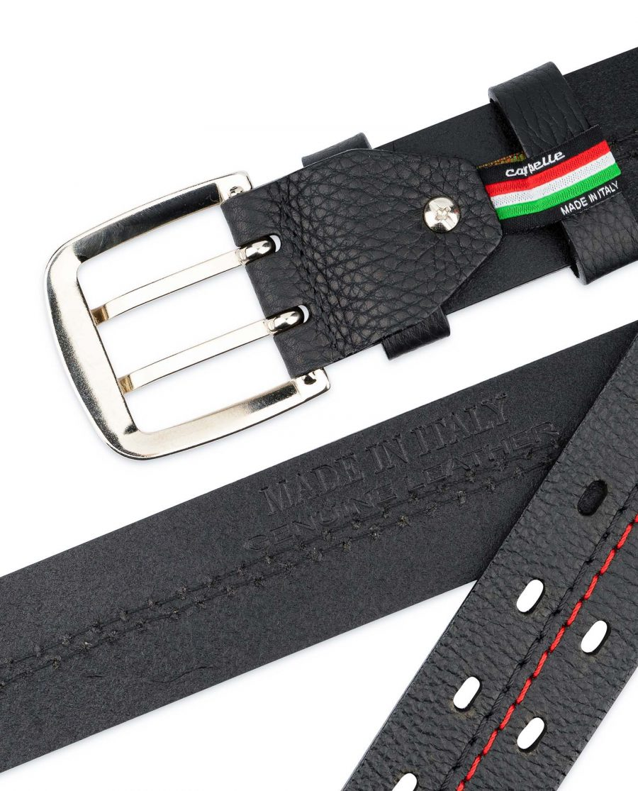 Mens-Double-Prong-Belt-Black-Thick-Leather-Made-in-Italy