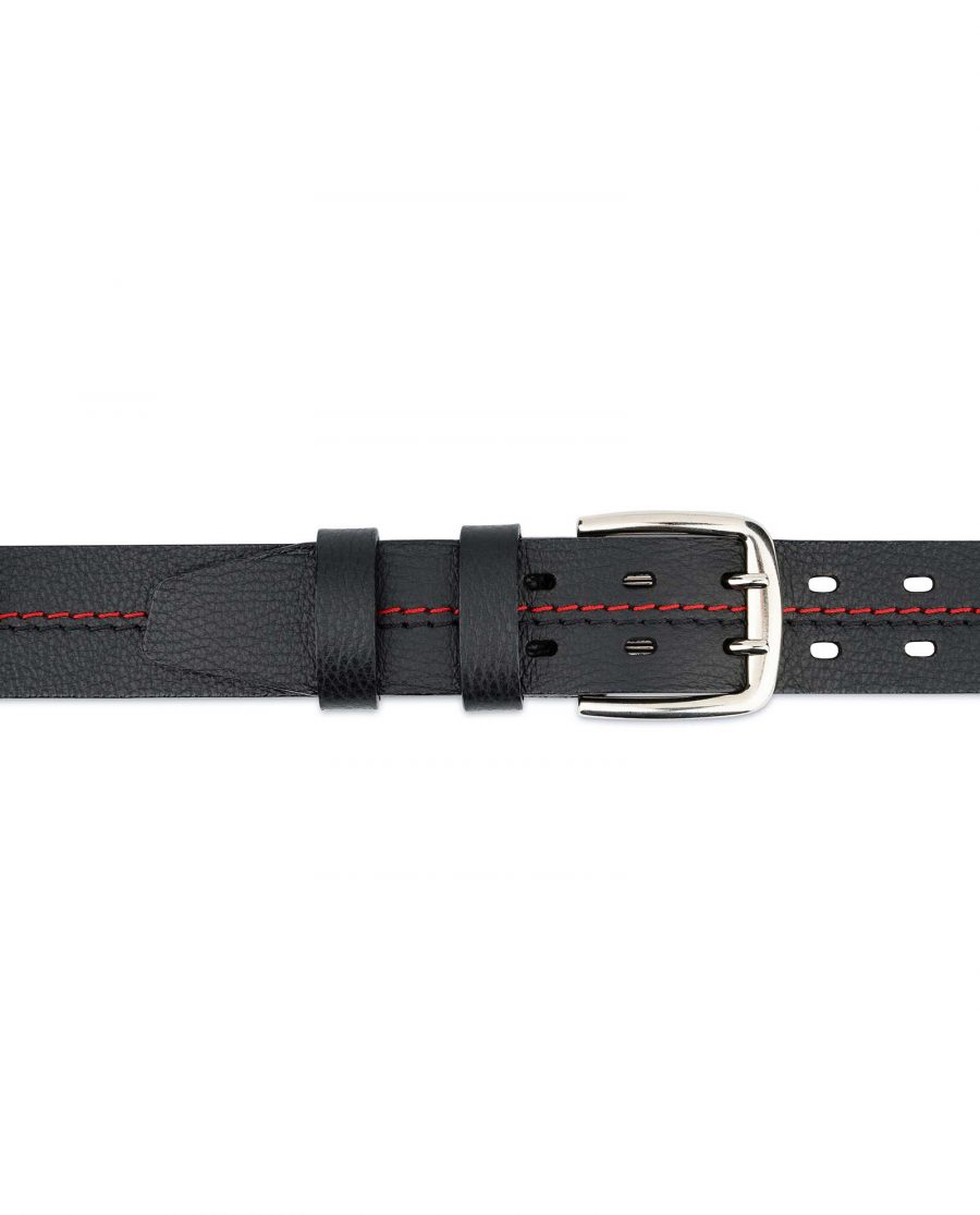 Mens-Double-Prong-Belt-Black-Thick-Leather-On-jeans