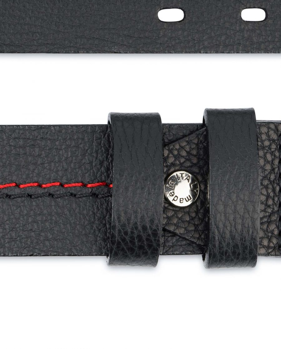Mens-Double-Prong-Belt-Black-Thick-Leather-Pebble