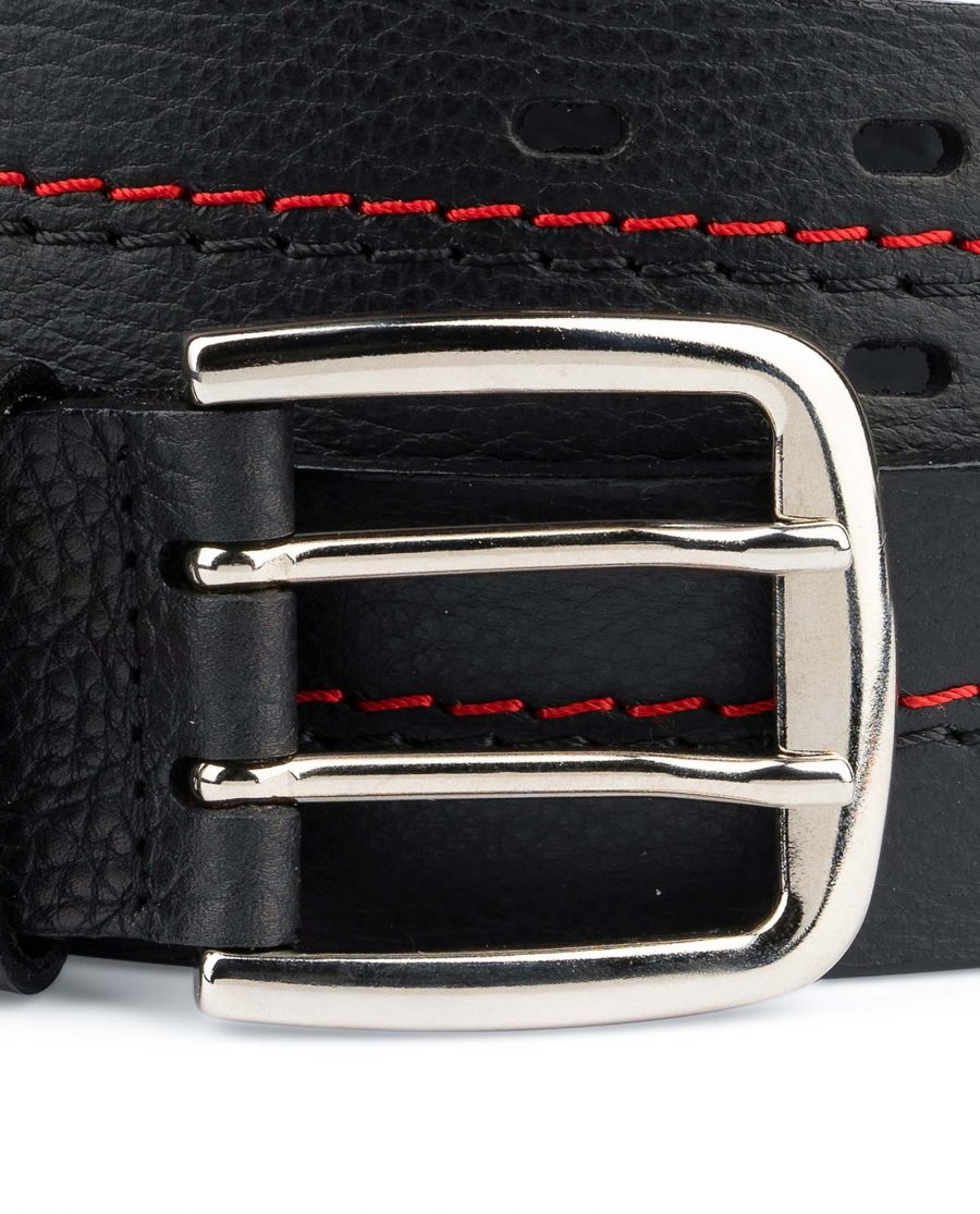 Mens-Double-Prong-Belt-Black-Thick-Leather-Strong-Heavy-duty