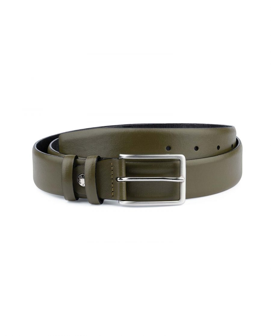 Mens-Green-Belt-Olive-Leather-1-3-8-inch-Capo-Pelle