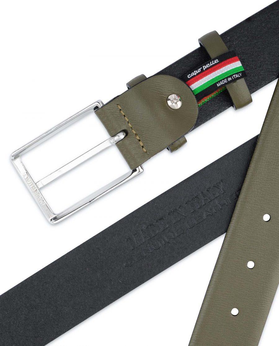Mens-Green-Belt-Olive-Leather-1-3-8-inch-Heat-stamp