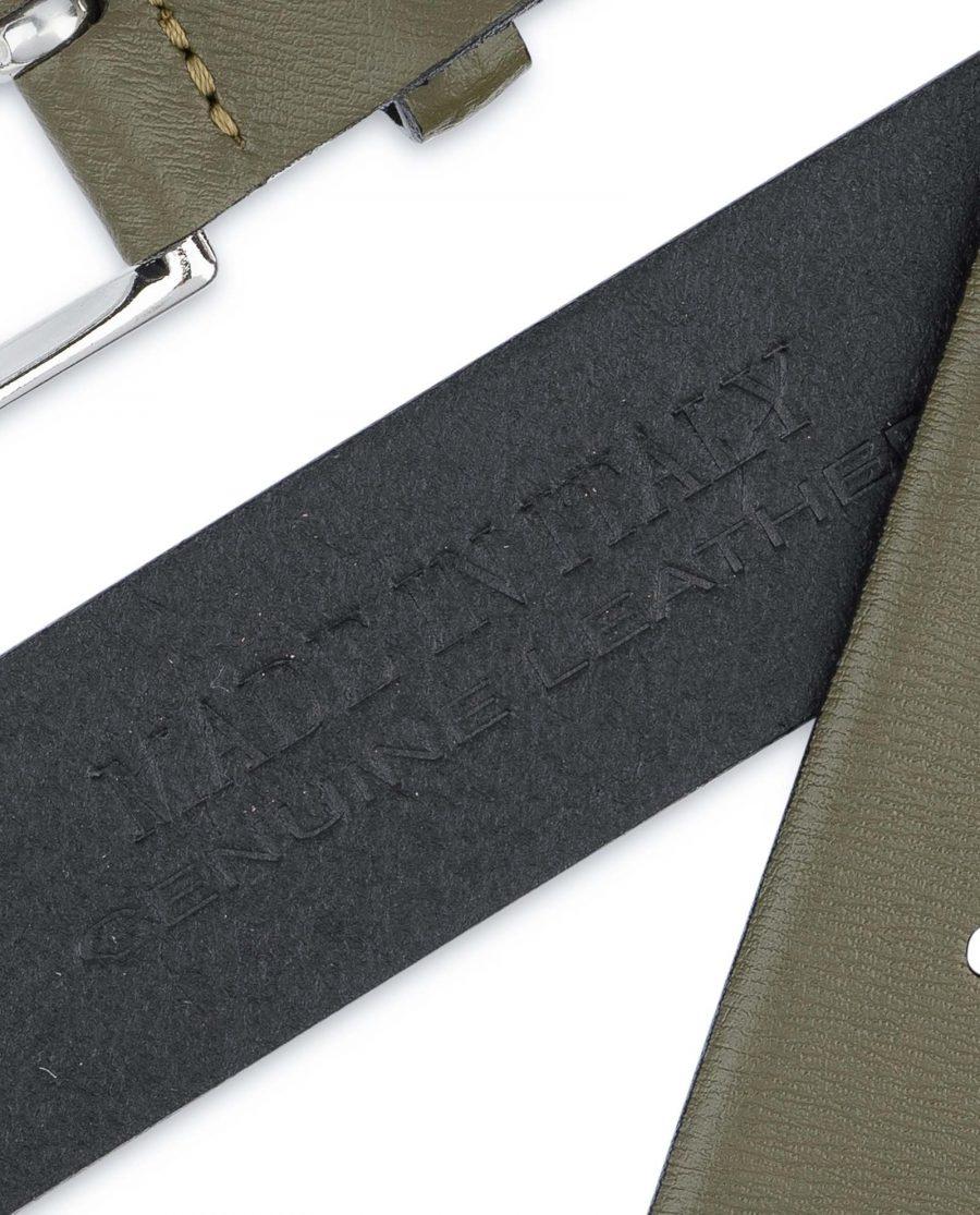 Mens-Green-Belt-Olive-Leather-1-3-8-inch-Italian