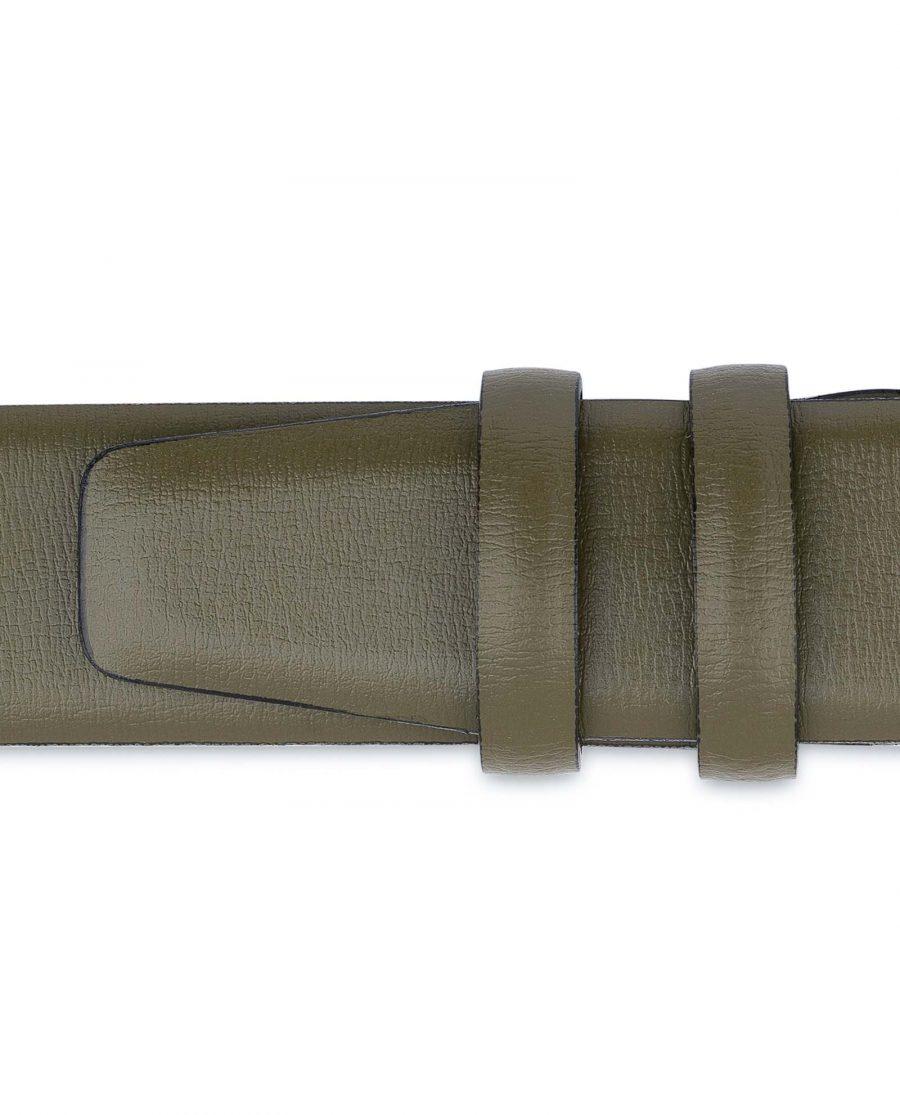 Mens-Green-Belt-Olive-Leather-1-3-8-inch-Loop