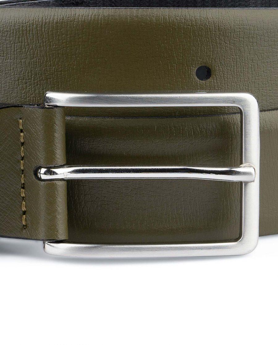 Mens-Green-Belt-Olive-Leather-1-3-8-inch-Nickel-buckle