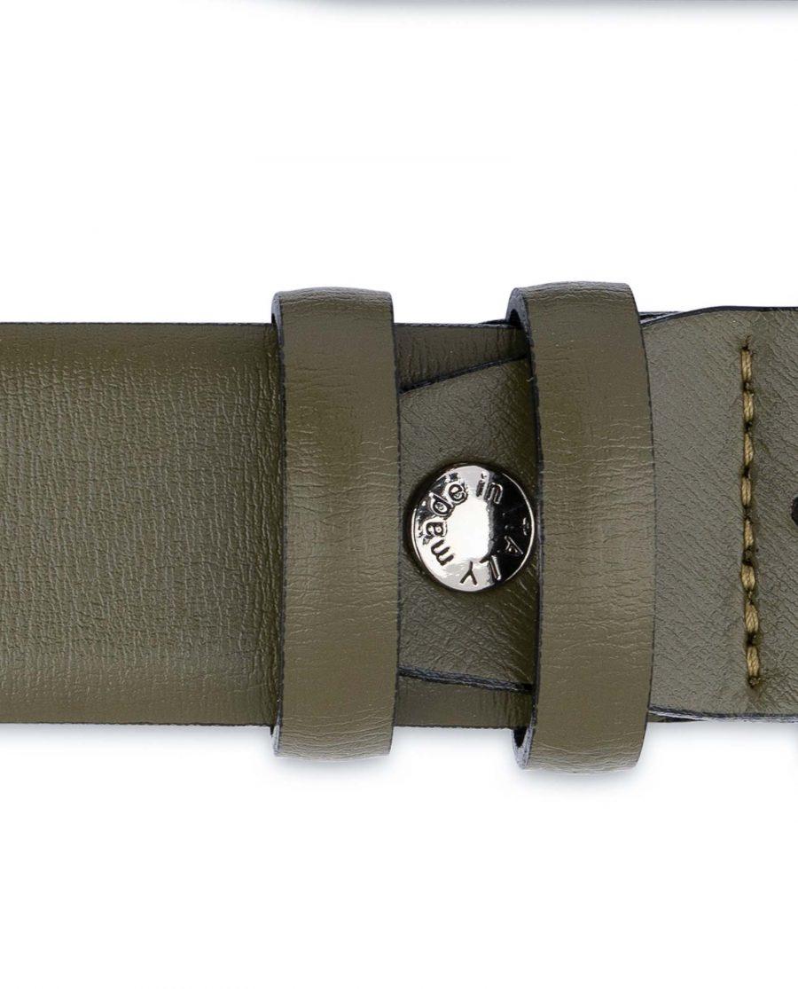 Mens-Green-Belt-Olive-Leather-1-3-8-inch-Screw