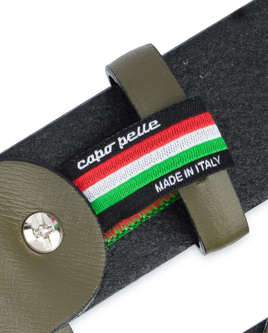Mens-Green-Belt-Olive-Leather-1-3-8-inch-Woven-tag