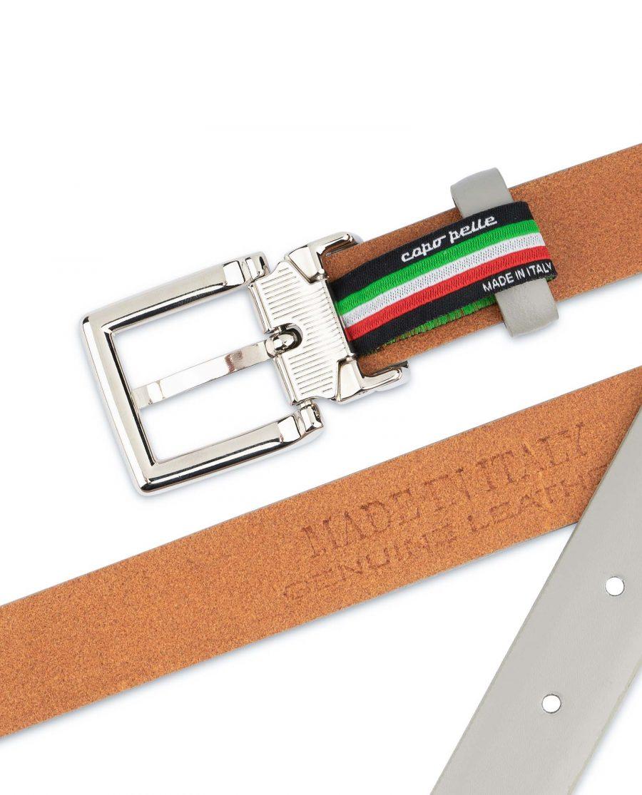 Mens-Grey-Leather-Belt-Thin-1-inch-Calfskin