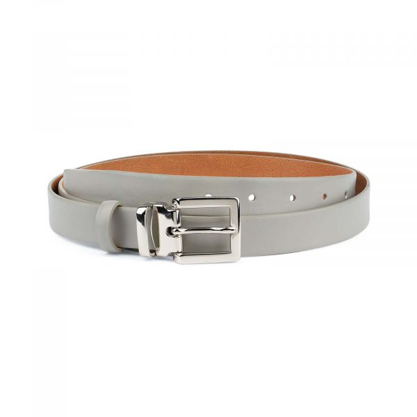 Mens-Grey-Leather-Belt-Thin-1-inch-Capo-Pelle
