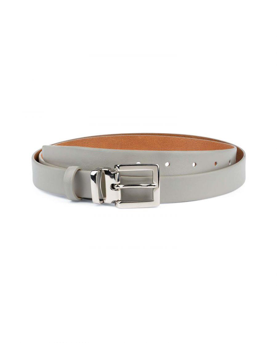 Mens-Grey-Leather-Belt-Thin-1-inch-Capo-Pelle