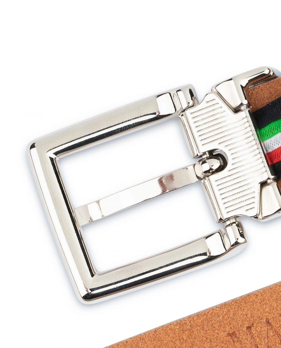 Mens-Grey-Leather-Belt-Thin-1-inch-Silver-nickel