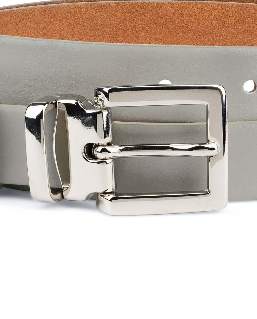 Mens-Grey-Leather-Belt-Thin-1-inch-Square-buckle