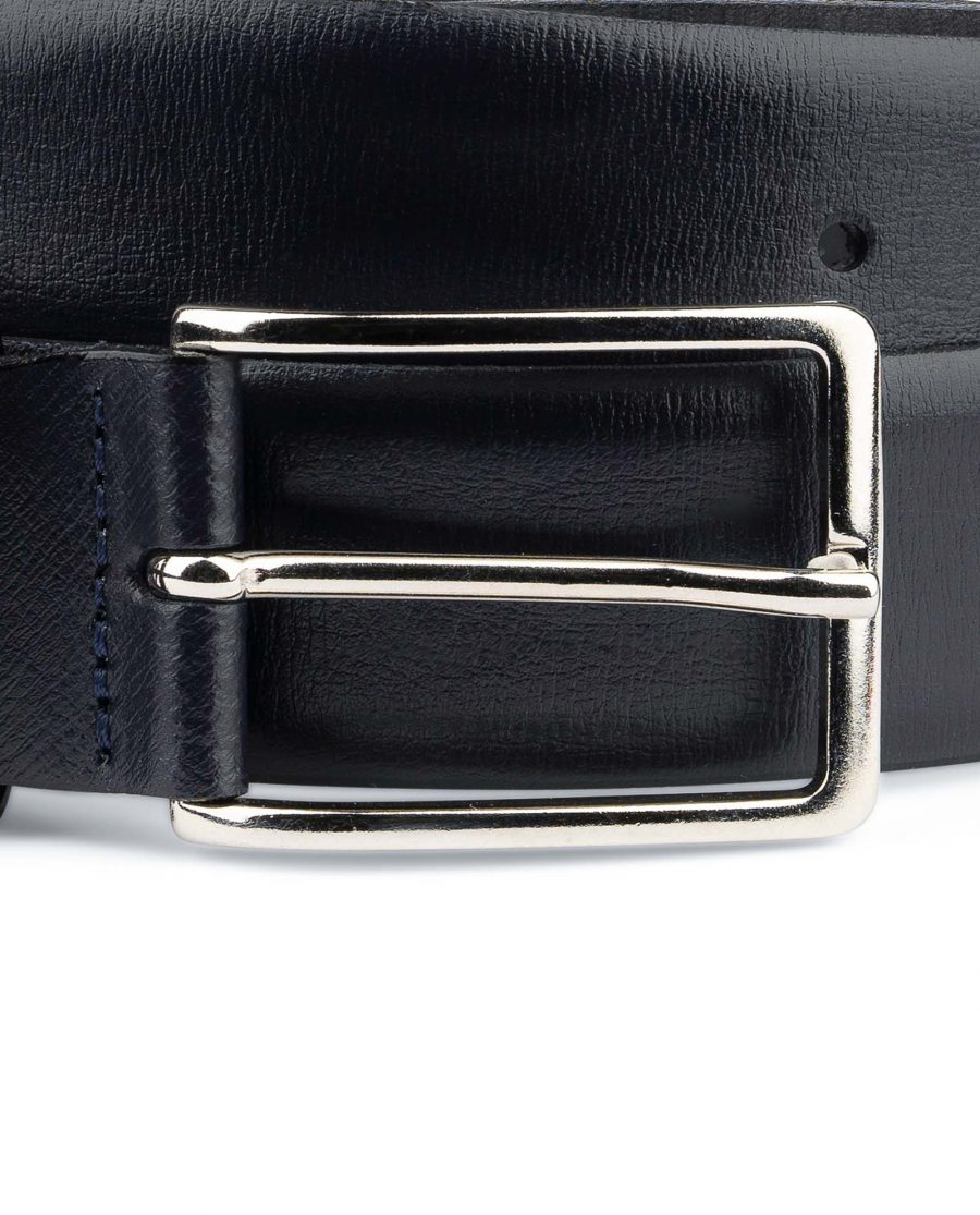 Mens-Navy-Belt-Dark-Blue-Leather-Nickel-silver-buckle
