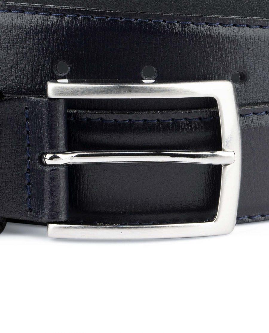 Mens-Navy-Blue-Belt-Genuine-Leather-Silver-nickel-buckle