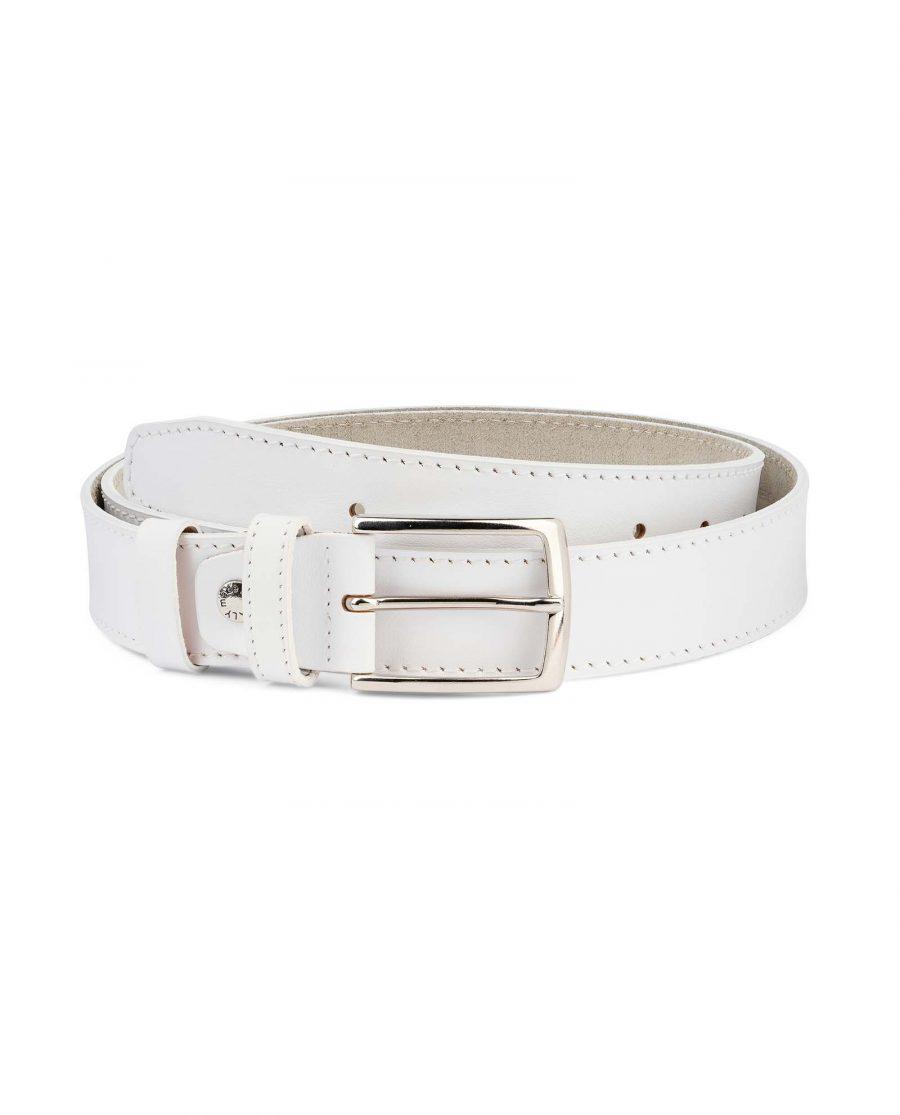 Mens-White-Belt-Genuine-Leather-1-3-8-inch-Capo-Pelle