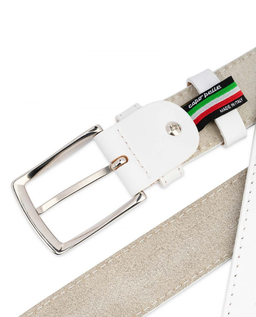 Mens-White-Belt-Genuine-Leather-1-3-8-inch-Casual