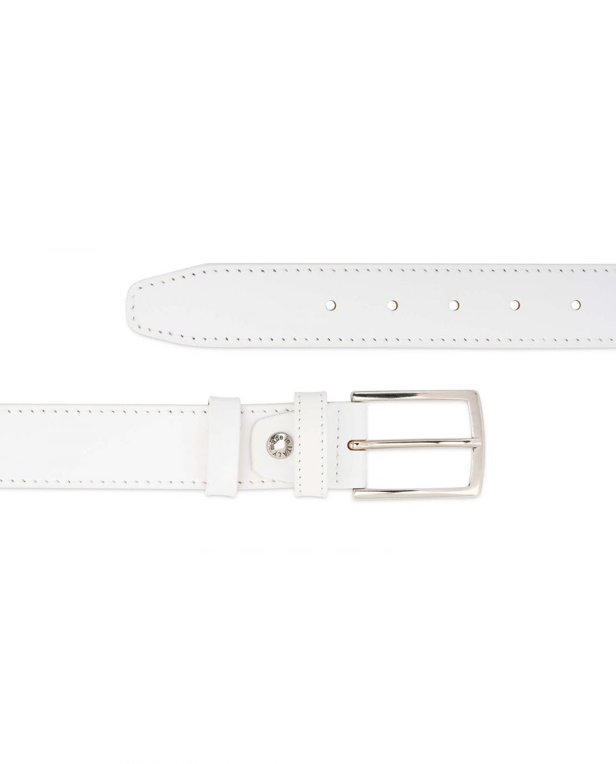 Mens-White-Belt-Genuine-Leather-1-3-8-inch-For-jeans