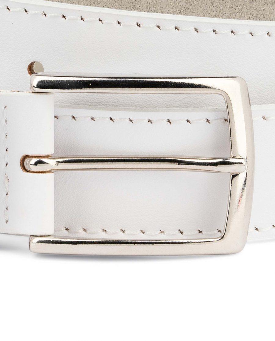 Mens-White-Belt-Genuine-Leather-1-3-8-inch-Nickel-silver